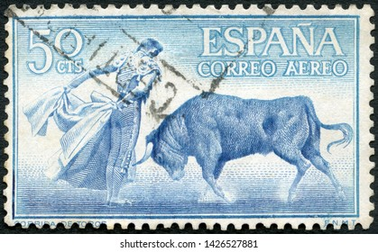 MOSCOW, RUSSIA - MAY 31, 2019: A stamp printed in Spain shows Fighting with cape, muleta, corrida, 1960