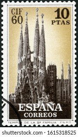 MOSCOW, RUSSIA - MAY 31, 2019: A stamp printed in Spain shows Temple Sagrada of Holy Family Church, Barcelona, Architect Antonio Gaudı, First International Congress of Philately, 1960