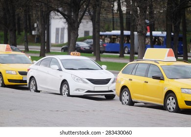 Moscow, Russia, May, 4, 2015: Taxi cars parking on the Sparrow Hills in Moscow