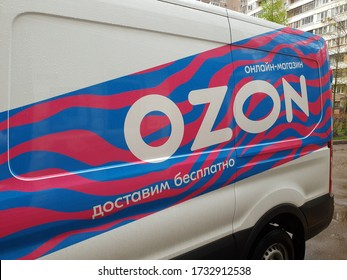 Moscow, Russia - May 4. 2020. Fragment of a branded car company Ozon.ru Internet commerce