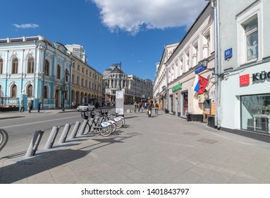 Moscow, Russia - May 4.2019. Myasnitskaya - an old street of the 17th century