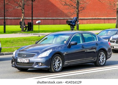 MOSCOW, RUSSIA - MAY 5, 2012: Motor car Infiniti G35 in the city street.