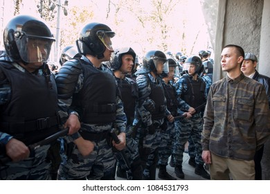 Moscow, RUSSIA - MAY 5, 2018: Police officers in riot gear at Pushkin Square during an opposition protest rally ahead of President Vladimir Putin's inauguration ceremony.