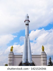 Moscow, Russia - may 5, 2019. VDNH (VDNKh, VVC) - Exhibition of Achievements of National Economy. Pavilion Space and Vostok (East) - three-stage launch vehicle for launching spacecraft.