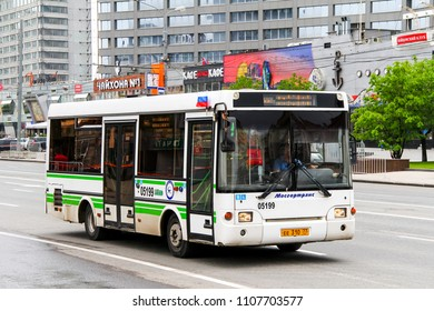 Moscow, Russia - May 6, 2012: Compact city bus PAZ 3237 in the city street.