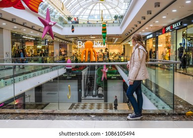 Moscow, Russia - May, 6, 2018: the image of the girl standing in shopping center Yerevan of Plaza in Moscow