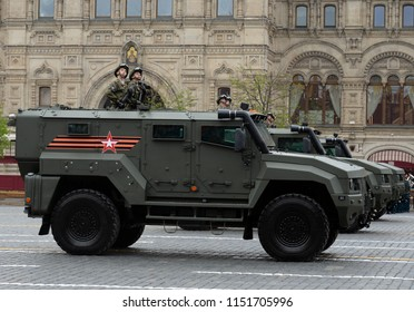 "MOSCOW, RUSSIA MAY 6, 2018: Armored car ""Typhoon K"" on the basis of KamAZ - 53949 during the rehearsal of the parade on Red Square in honor of the Victory Day."