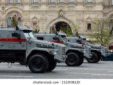 "MOSCOW, RUSSIA MAY 6, 2018: Special purpose vehicle ""patrol"" on the basis of KAMAZ-43501 national guard troops during the rehearsal of the parade in honor of the Victory day."