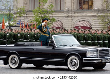 MOSCOW, RUSSIA MAY 6, 2018: Commander of the parade commander-in-chief of the Russian Army Colonel-General Oleg Salyukov at the rehearsal of the parade dedicated to the Victory Day