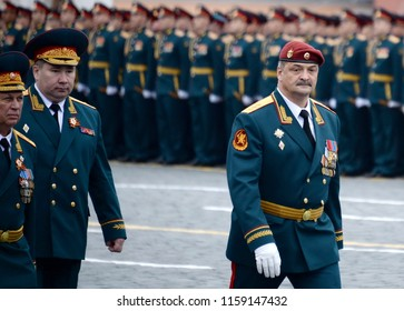 MOSCOW, RUSSIA MAY 6, 2018: First Deputy Director of the Federal service of the national guard troops of the Russian Federation Colonel-General Sergei Melikov at the rehearsal of the Victory parade