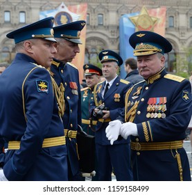 MOSCOW, RUSSIA MAY 6, 2018: Head of the Air Force Academy named after Professor Zhukovsky and Gagarin Colonel-General Gennady Zibrov with officers at the dress rehearsal of the Victory Parade