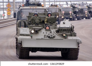 Moscow. Russia. May 6, 2018. The Victory Day parade rehearsal for May 9. Around the city the armored recovery vehicle (BREM-1) goes it is intended for evacuation of the got stuck and damaged equipment