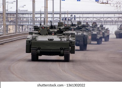 Moscow. Russia. May 6, 2018. The Victory Day parade rehearsal for May 9. The infantry fighting vehicle Resident of Kurgan-25 IFV goes on city streets