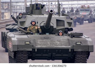 Moscow. Russia. May 6, 2018. The Victory Day parade rehearsal for May 9. The latest Russian main tank with an uninhabited tower on the basis of the universal caterpillar Armata platform of T-14.