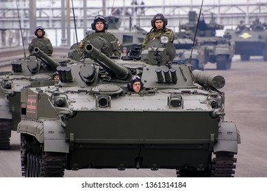 Moscow. Russia. May 6, 2018. The Victory Day parade rehearsal for May 9. The BMP-3 armored personnel carrier the infantry fighting vehicle goes on the city street.