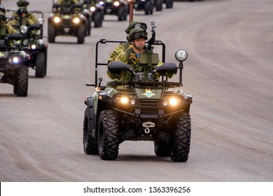 Moscow, Russia - May 6, 2018: Army all-terrain vehicles AM-1. Rehearsal of Military Parade on 73th anniversary of Victory in Great Patriotic War