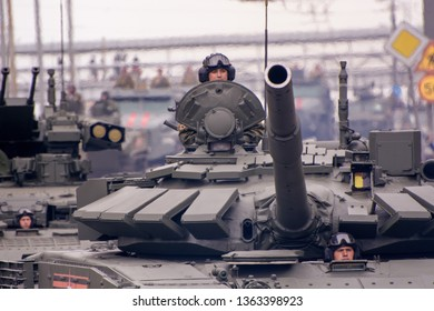 """Moscow. Russia. May 6, 2018. The Victory Day parade rehearsal for May 9. The Russian average main T-72B3 tank (the """"Pokrovsk"""" modification) goes around the city."""