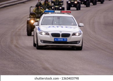 Moscow. Russia. May 6, 2018. The Victory Day parade rehearsal for May 9. Around the city the traffic police and VAI of the escort car of military equipment go