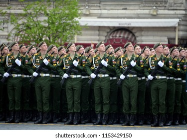 MOSCOW, RUSSIA MAY 6, 2018:Cadets of the military Academy of air defense of the Armed Forces of the Russian Federation at the rehearsal of the parade in honor of the Victory day.