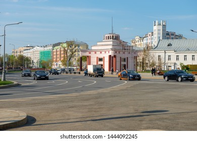 Moscow, Russia - May 6, 2019: View of the Ground entrance hall of the Arbat station of the Filyovskaya line on Arbat Square on a spring day