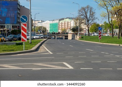Moscow, Russia - May 6, 2019: View of the Arbat tunnel on Arbat Square on a spring day