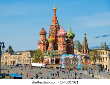 Moscow, Russia - May 6, 2019: View of the St. Basil's Cathedral in Moscow on Red Square on a   on a spring day