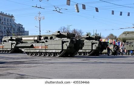 MOSCOW, RUSSIA - MAY 7, 2015: Military parade dedicated to Victory Day in World War II