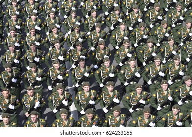 MOSCOW, RUSSIA - MAY 7, 2016: Russian soldiers are returning from Moscow's Red Square after the Victory Day Parade rehearsal.