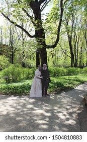 Moscow, Russia - May 7, 2017:  Flat figures of Leo Tolstoy and his wife at the entrance to the Museum-estate of Leo Tolstoy in Khamovniki.