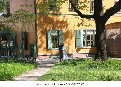 Moscow, Russia - May 7, 2017:  Flat figures of Leo Tolstoy and his wife near the house-Museum of Leo Tolstoy in Khamovniki.