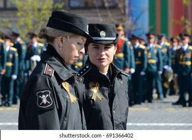 MOSCOW, RUSSIA - MAY 7, 2017:Federal state civil servants of the Ministry of Defense of the Russian Federation on the Red Square of Moscow.