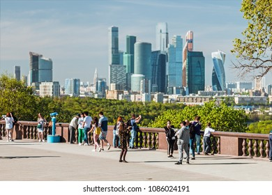 Moscow, Russia - may 7, 2018: observation deck on Vorobyovy Gory. district University. Moscow. View of the city and the complex of skyscrapers Moscow city.