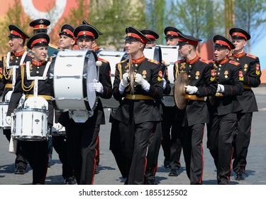 MOSCOW, RUSSIA - MAY 7, 2019:Students of the Moscow military music school at the dress rehearsal of the parade on red square in honor of Victory Day