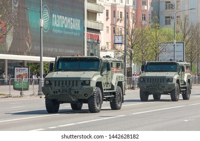 """Moscow, Russia - May 7: Multi-purpose armored vehicles """"Typhoon-K"""" as part of column of military equipment, returning along New Arbat from Victory Parade rehearsal on Red Square."""