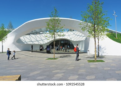 Moscow, Russia - May 7,2018: Media center in Zaryadie park, Moscow, Russia. Here people can make acquaintance with the most attractive sights of the country