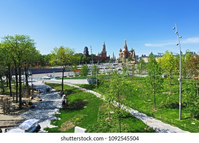 Moscow, Russia - May 7,2018: Vasilevsky spusk view from Zaryadie park, Moscow, Russia. It is the entrance to the Red square from Spasskaya tower and Saint Basils cathedral side