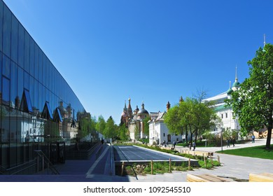 Moscow, Russia - May 7,2018: Zaryadie park near Varvarka street, Moscow, Russia, where are located Romanov boyars ward, church of the great martyr Barbara and Saint Basils cathedral