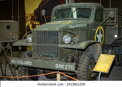MOSCOW, RUSSIA - MAY 8, 2019- Exhibition at Victory Park. GMC CCKW 353 1940 USA World War II trailer