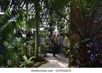 "MOSCOW, RUSSIA - MAY 8, 2019: Visitors of hothouse at the ""Apothecary Garden"" ."