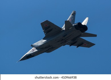 Moscow, Russia - May 9, 201: Russian interceptor aircraft Mikoyan-Gurevich Mig-31 (NATO reporting name: Foxhound) at Parade of Victory in World War II May 9, 201 in Moscow