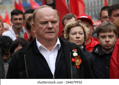 Moscow, Russia - May 9, 2012. March of communists on the Victory Day. Leader of communist party of Russia Gennady Zyuganov