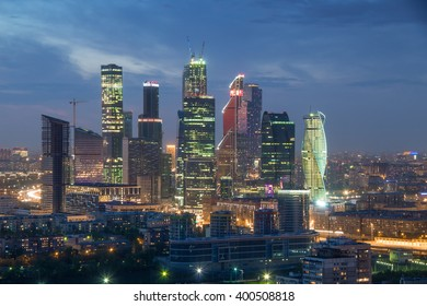 MOSCOW, RUSSIA - MAY 9, 2014: Futuristic Moscow International Business Center at dark night. Years of construction of complex - 1995-2018