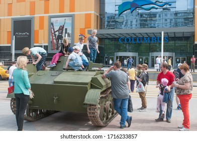 """MOSCOW, RUSSIA - May 9, 2015: Soviet light tank of the second world war T-60 on the Victory Day WWII holiday near the Columbus shopping center of the metro """"Prazhskaya"""""""