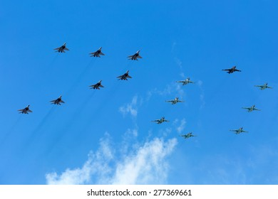 MOSCOW, RUSSIA - MAY 9, 2015. Victory Parade in Red Square to commemorate 70th anniversary of victory in the Great Patriotic war . Airshow.