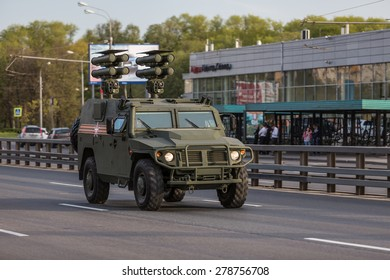 Moscow, RUSSIA - MAY 9 2015: Military transportation on its back way after Victory Day Parade