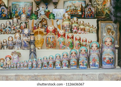 MOSCOW, RUSSIA - MAY 9, 2017: Closups od souvenirs in Old Arbat street, which retains elements of its once elegant past, but is now mostly souvenir stalls, performing artists and outdoor cafes