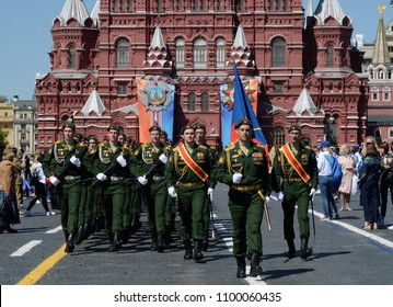 MOSCOW, RUSSIA - MAY 9, 2018: Cadets of the military academy of Strategic Missile Forces named after Peter the Great at the military parade in honor of Victory Day on Red Square.