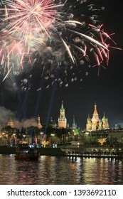 Moscow, Russia, May 9, 2019. Beautiful festive fireworks over the city overlooking the Moscow Kremlin