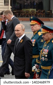 MOSCOW, RUSSIA - MAY 9, 2019: Russian President Vladimir Putin with defense Minister Sergei Shoigu and army General Oleg Salyukov during the celebration of the 74th anniversary of Victory