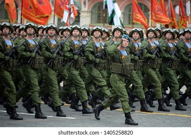 MOSCOW, RUSSIA - MAY 9, 2019: Paratroopers of the Kostroma 331st guards parachute regiment during the parade on red square in honor of Victory Day